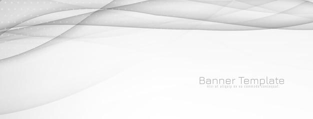 Banner decorativo abstrato de onda cinza