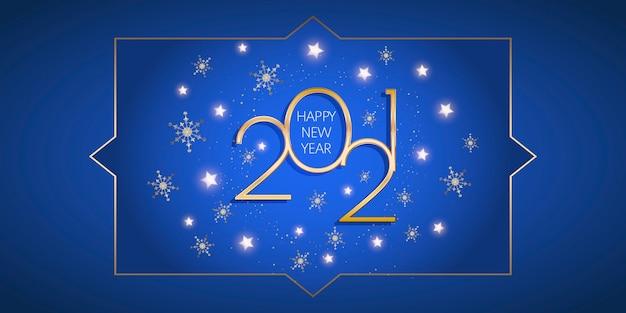Banner decorativo de feliz ano novo com estrelas douradas e desenho de flocos de neve