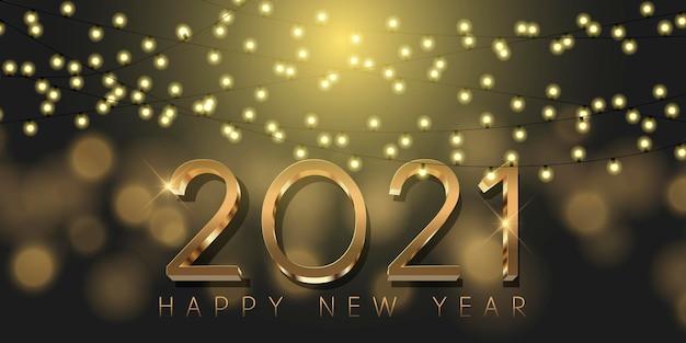 Banner decorativo de feliz ano novo com letras douradas metálicas e luzes cintilantes