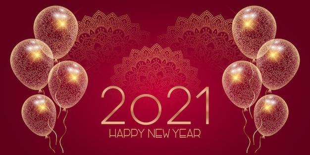 Banner decorativo de feliz ano novo com mandalas e balões brilhantes