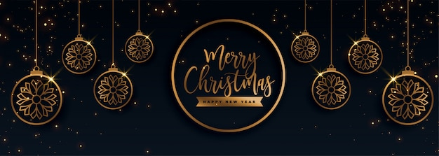 Banner decorativo de feliz natal dourado premium