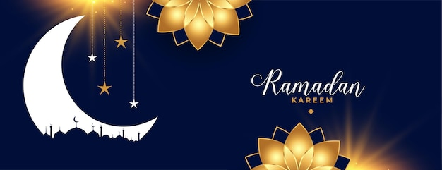 Banner decorativo de flor dourada da estação ramadan kareem eid