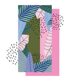Banner decorativo de plantas tropicais exóticas de folhas tropicais