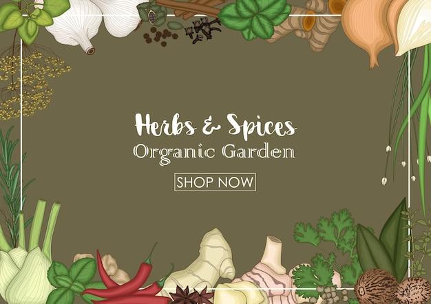 Banner decorativo de venda de ervas e especiarias