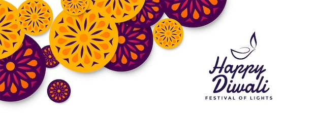 Banner decorativo do festival de diwali em estilo indiano