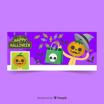 Banner decorativo facebook com conceito de halloween