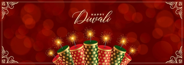 Banner decorativo feliz diwali crackers vermelho