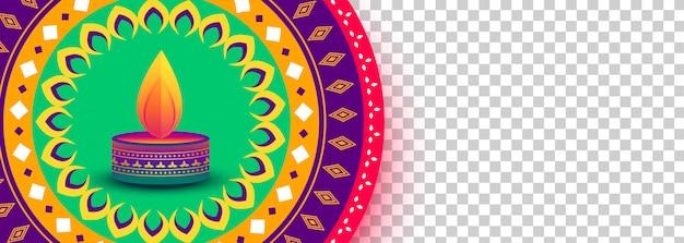 Banner decorativo festival de diwali colorido com espaço de imagem