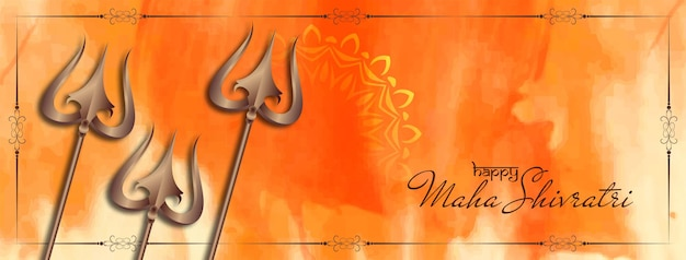 Banner decorativo maha shivratri com desenho trishul