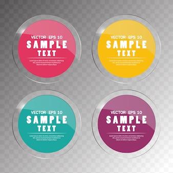 Banner definir logotipo abstrato do círculo de vidro colorido em design de fundo transparente.