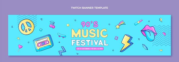Banner desenhado à mão no festival de música dos anos 90