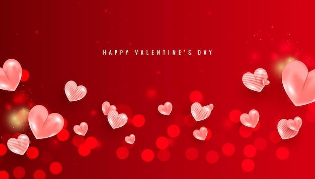 Banner desfocado do dia dos namorados com balões de coração romântico rosa