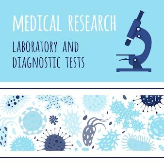 Banner design com microscópio e germes