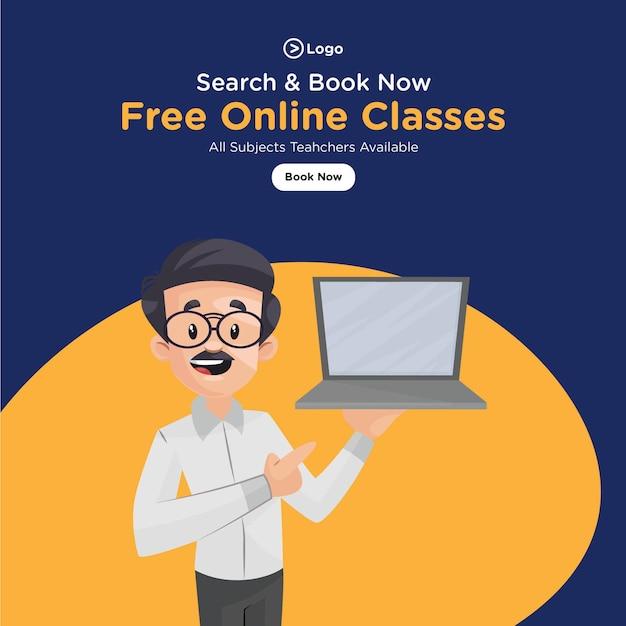 Banner design de aulas online gratuitas para todos os professores de disciplinas disponíveis