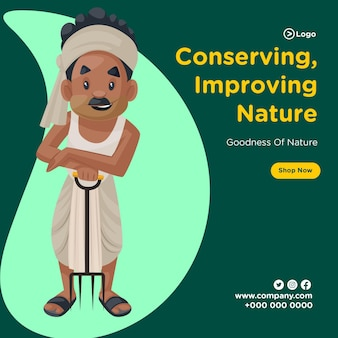 Banner design de conservação, melhorando a natureza e a bondade da natureza