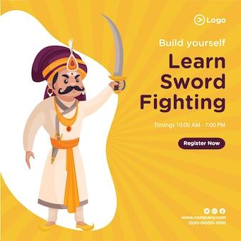 Banner design de construir você mesmo aprender a lutar com espadas
