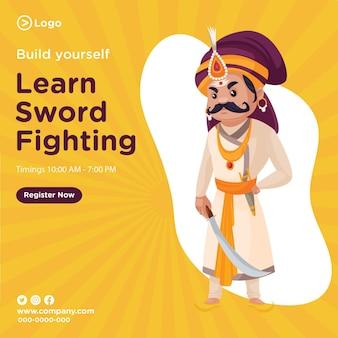 Banner design de construir você mesmo aprender luta com espadas