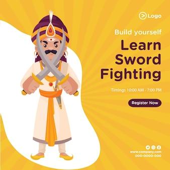 Banner design de construir você mesmo aprender modelo de luta com espada