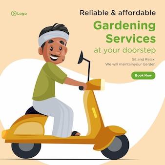 Banner design de serviços de jardinagem confiáveis e acessíveis à sua porta