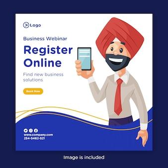 Banner design de webinar de negócios registre-se online e encontre novas soluções de negócios