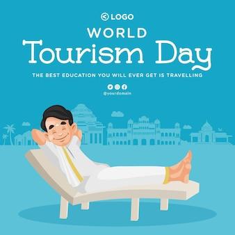 Banner design do modelo do dia mundial do turismo
