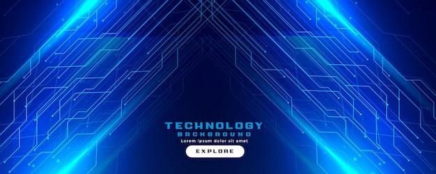 Banner digital de linhas de circuito de tecnologia