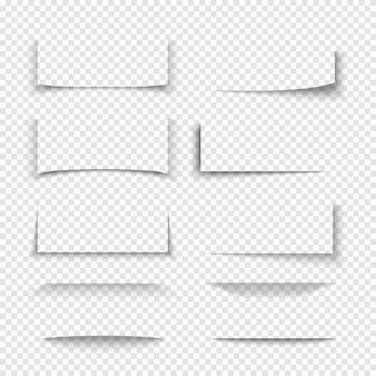 Banner, divisor, efeitos de sombra 3d de borda de site com bordas transparentes. forma de cartão de papel