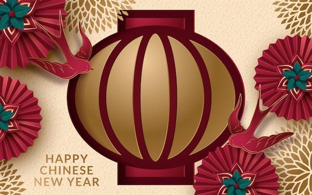 Banner do ano lunar com lanterna e flores em estilo de arte de papel