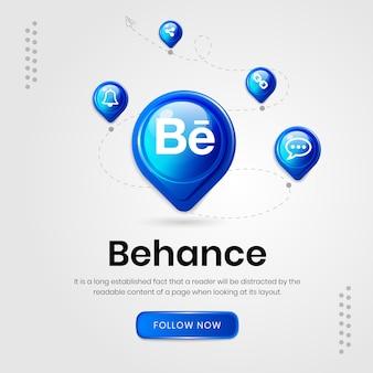 Banner do behance com ícones de mídia social