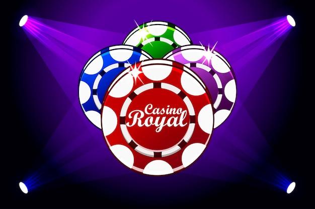 Banner do casino royale com chips de jogo de ícone de iluminação. símbolos de pôquer, ícone e texto. ilustração vetorial para cassino, caça-níqueis e interface do usuário do jogo. objetos em uma camada separada
