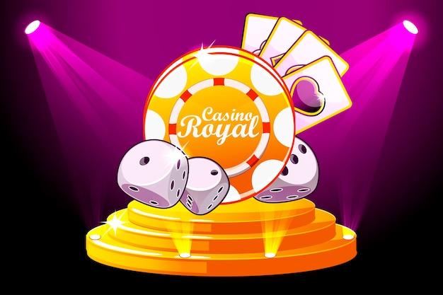 Banner do casino royale com iluminação ícone jogando fichas e dados. pôquer de símbolos vetoriais na cena do pódio do palco. ilustração para cassino, caça-níqueis e interface do usuário do jogo. objetos em uma camada separada