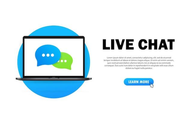 Banner do chat ao vivo. ícone de mensagem em design plano no laptop. comunicação. sinal de conversa. vetor em fundo branco isolado. eps 10.
