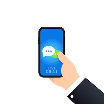 Banner do chat ao vivo. mão segurando o telefone na mão com o ícone da mensagem. comunicação. sinal de conversa. vetor em fundo branco isolado. eps 10.