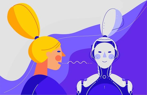 Banner do conceito com comando de mulher com a voz para o robô.