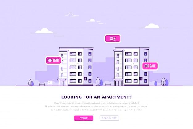Banner do conceito de bens imobiliários.