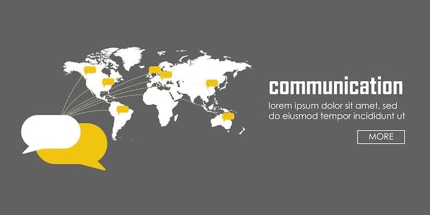 Banner do conceito de comunicação. modelo de infográfico de ilustração vetorial web.