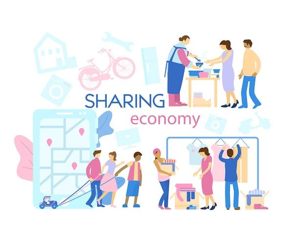 Banner do conceito de economia do compartilhamento diferentes aspectos da economia do compartilhamento