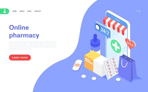 Banner do conceito de farmácia online compra de medicamentos online telefone celular com medicamentos