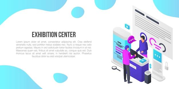 Banner do conceito de sala de exposições do centro de exposições