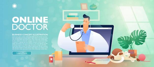 Banner do conceito on-line médico e telessaúde com um personagem de desenho animado do médico saindo de um computador portátil.