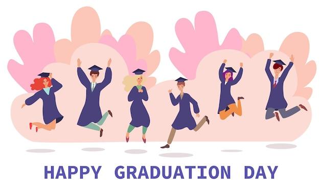 Banner do dia da formatura dos alunos com ilustração plana de personagens de pessoas