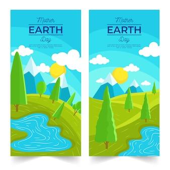 Banner do dia da mãe terra com natureza paisagem
