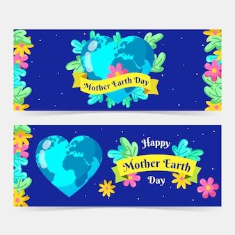 Banner do dia da mãe terra com o planeta em forma de coração