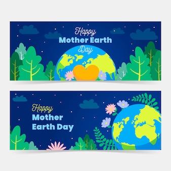 Banner do dia da mãe terra com o planeta