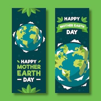 Banner do dia da mãe terra com planeta e folhas