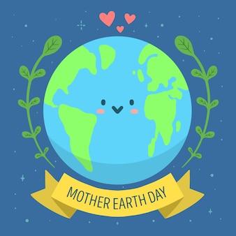 Banner do dia da mãe terra com planeta fofo