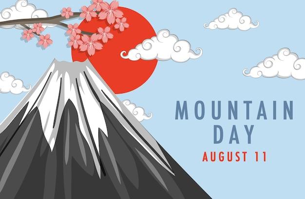 Banner do dia da montanha no japão com monte fuji