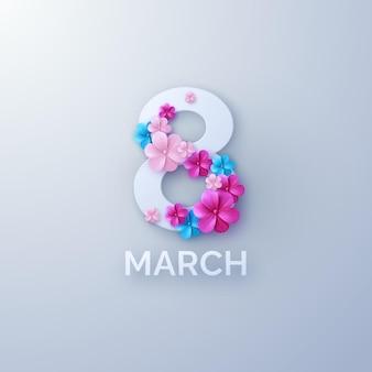 Banner do dia da mulher de março com flores de papel