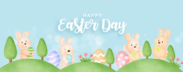 Banner do dia da páscoa com coelhos bonitos e ovos de páscoa.
