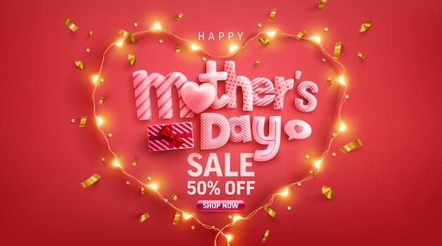 Banner do dia das mães com coração de amor e símbolo do coração das luzes led no pred
